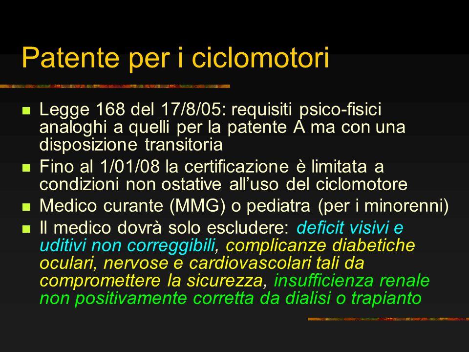 Patente per i ciclomotori Legge 168 del 17/8/05: requisiti psico-fisici analoghi a quelli per la patente A ma con una disposizione transitoria Fino al