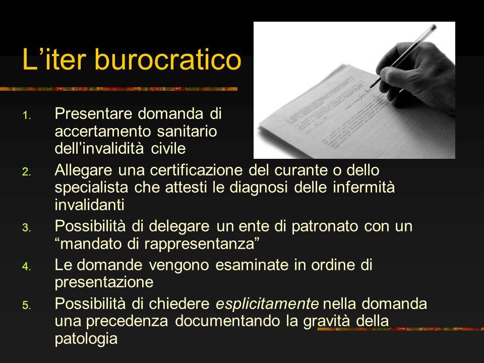 Liter burocratico 1. Presentare domanda di accertamento sanitario dellinvalidità civile 2. Allegare una certificazione del curante o dello specialista