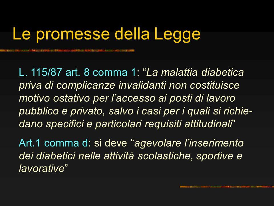 Le promesse della Legge L. 115/87 art. 8 comma 1: La malattia diabetica priva di complicanze invalidanti non costituisce motivo ostativo per laccesso