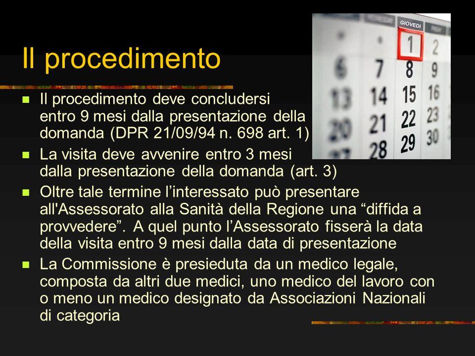 Il procedimento Il procedimento deve concludersi entro 9 mesi dalla presentazione della domanda (DPR 21/09/94 n. 698 art. 1) La visita deve avvenire e