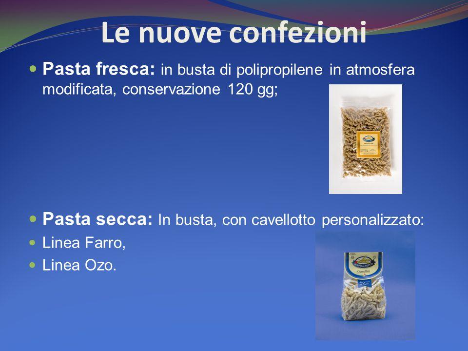 Le nuove confezioni Pasta fresca: in busta di polipropilene in atmosfera modificata, conservazione 120 gg; Pasta secca: In busta, con cavellotto perso
