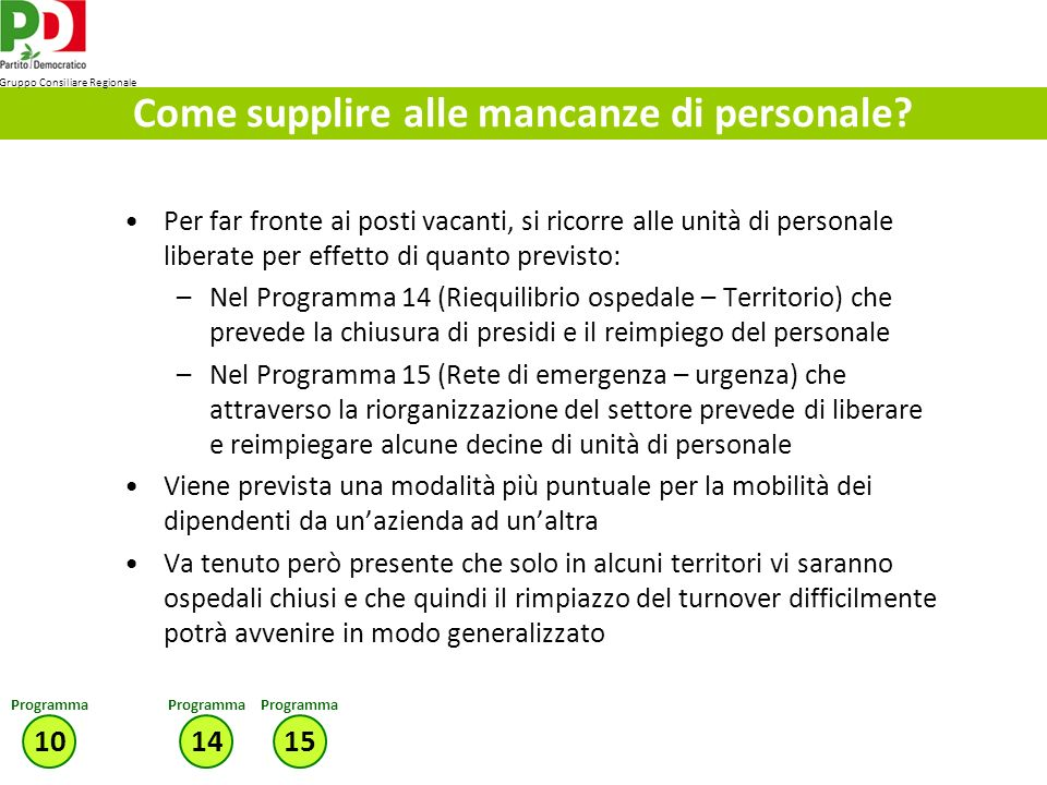 Come supplire alle mancanze di personale.