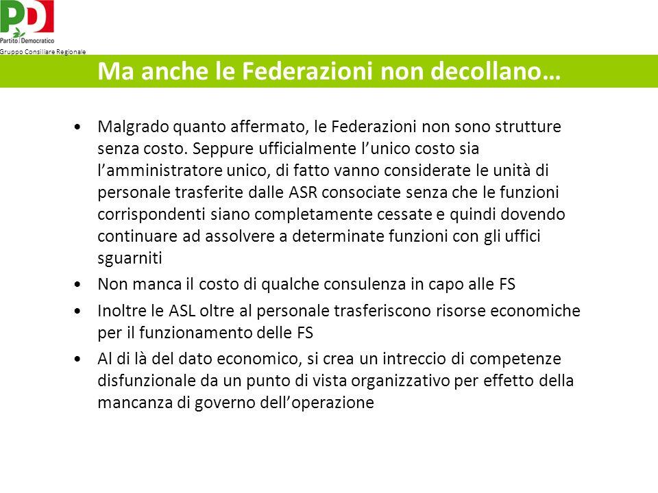 Ma anche le Federazioni non decollano… Malgrado quanto affermato, le Federazioni non sono strutture senza costo.