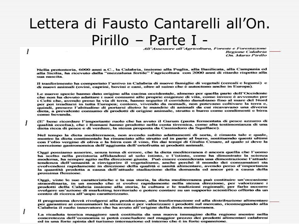 Lettera di Fausto Cantarelli allOn. Pirillo – Parte I -