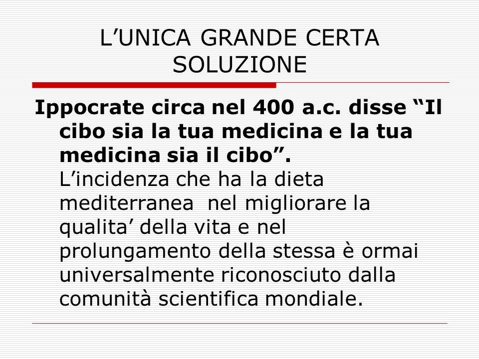 LUNICA GRANDE CERTA SOLUZIONE Ippocrate circa nel 400 a.c. disse Il cibo sia la tua medicina e la tua medicina sia il cibo. Lincidenza che ha la dieta