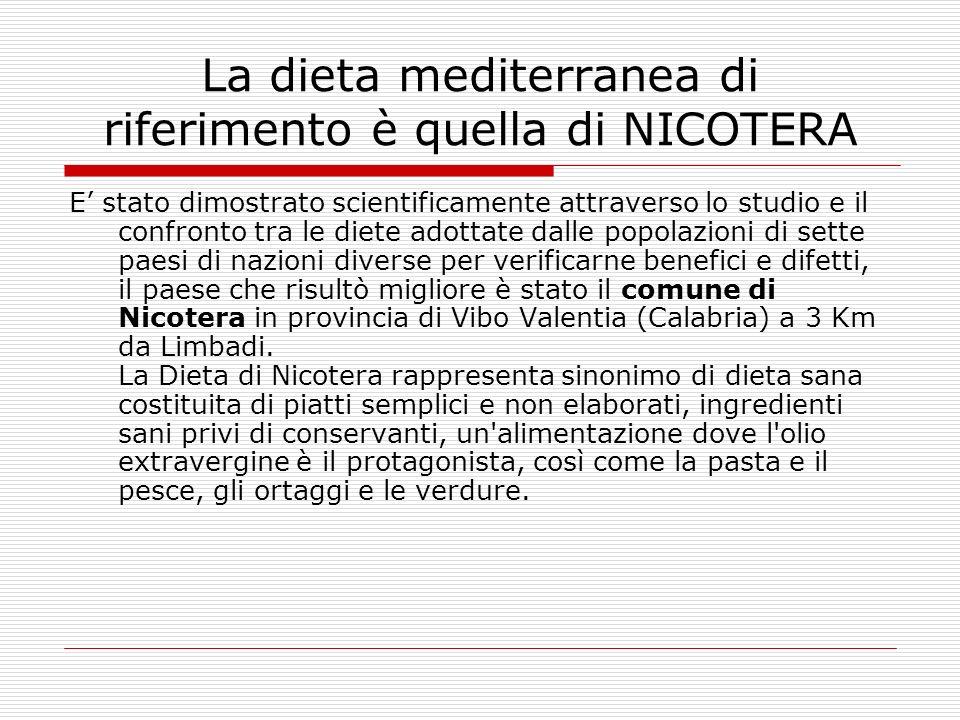 La dieta mediterranea di riferimento è quella di NICOTERA E stato dimostrato scientificamente attraverso lo studio e il confronto tra le diete adottat