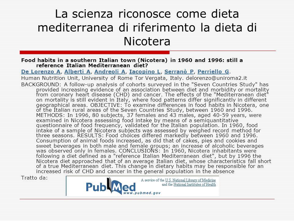 La scienza riconosce come dieta mediterranea di riferimento la dieta di Nicotera Food habits in a southern Italian town (Nicotera) in 1960 and 1996: s