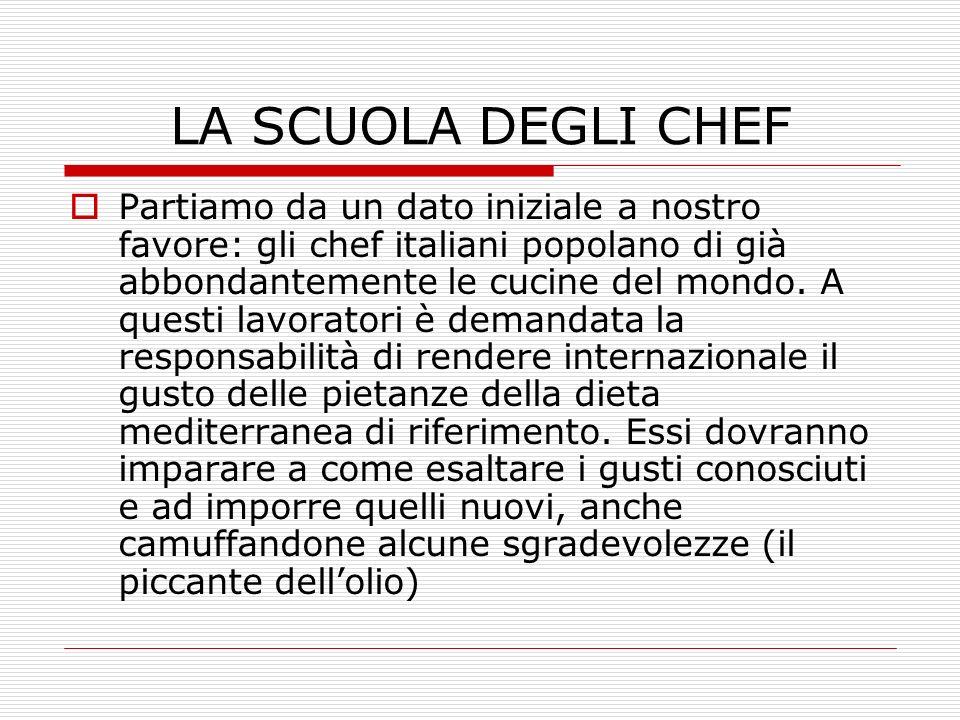 LA SCUOLA DEGLI CHEF Partiamo da un dato iniziale a nostro favore: gli chef italiani popolano di già abbondantemente le cucine del mondo. A questi lav