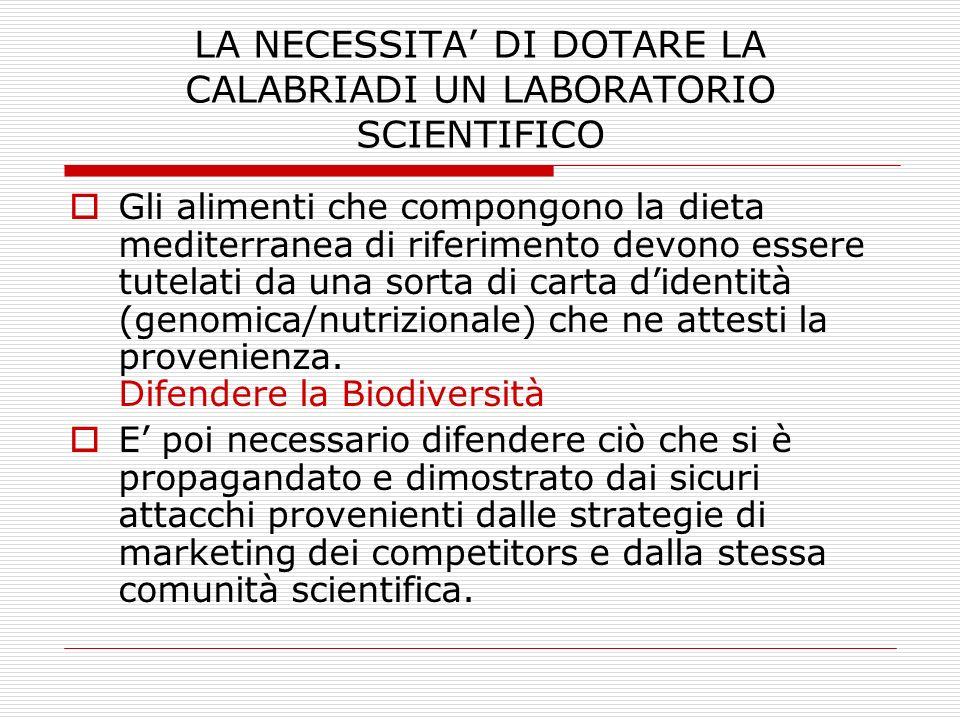 LA NECESSITA DI DOTARE LA CALABRIADI UN LABORATORIO SCIENTIFICO Gli alimenti che compongono la dieta mediterranea di riferimento devono essere tutelat
