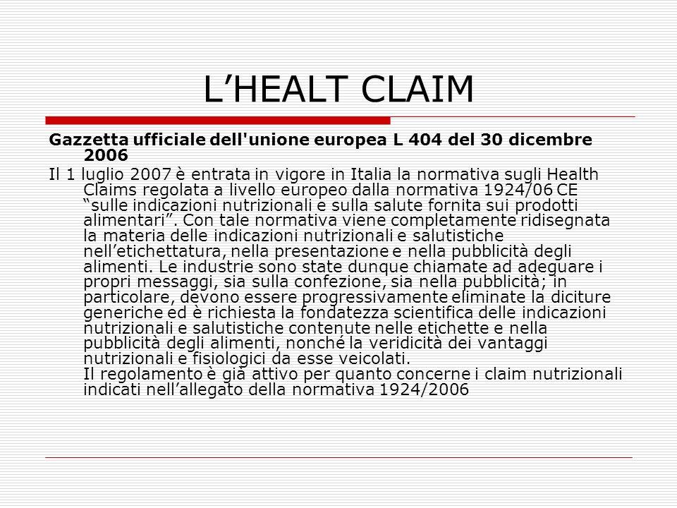 LHEALT CLAIM Gazzetta ufficiale dell'unione europea L 404 del 30 dicembre 2006 Il 1 luglio 2007 è entrata in vigore in Italia la normativa sugli Healt