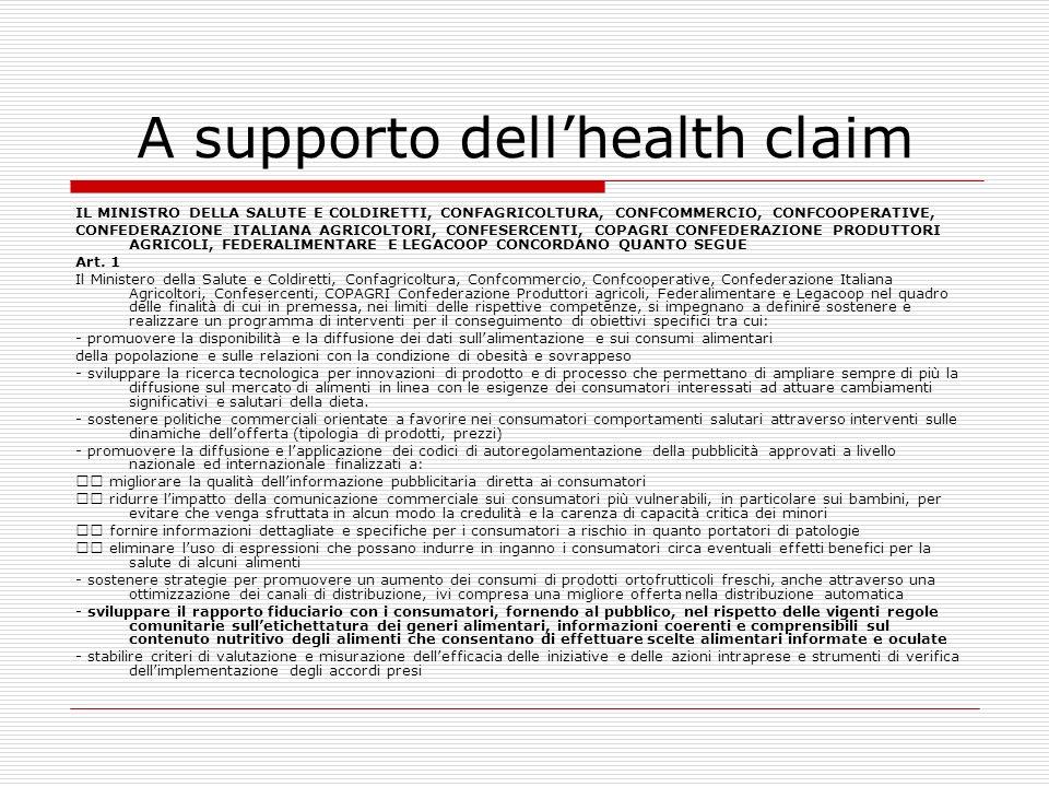 A supporto dellhealth claim IL MINISTRO DELLA SALUTE E COLDIRETTI, CONFAGRICOLTURA, CONFCOMMERCIO, CONFCOOPERATIVE, CONFEDERAZIONE ITALIANA AGRICOLTOR