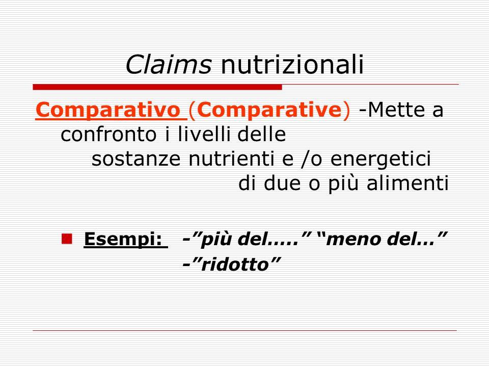 Claims nutrizionali Comparativo (Comparative) -Mette a confronto i livelli delle sostanze nutrienti e /o energetici di due o più alimenti Esempi: -più