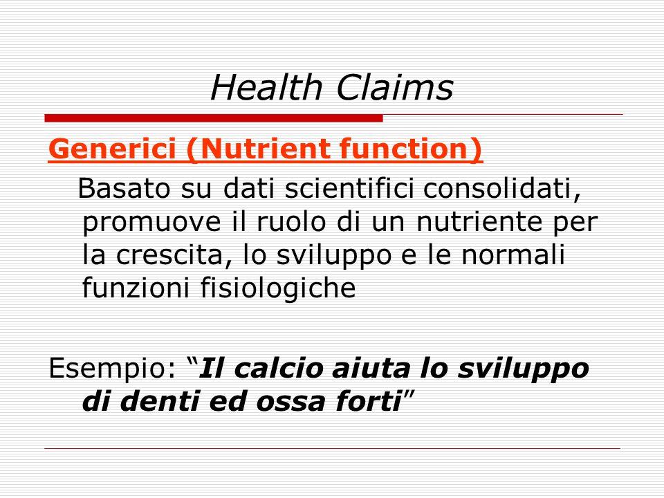 Health Claims Generici (Nutrient function) Basato su dati scientifici consolidati, promuove il ruolo di un nutriente per la crescita, lo sviluppo e le