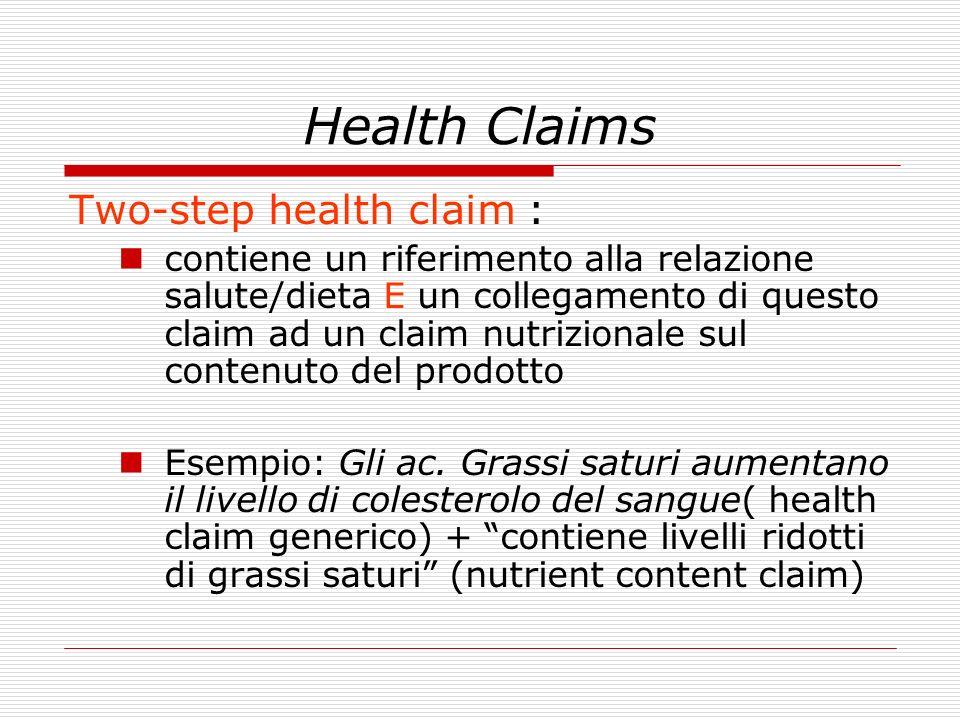 Health Claims Two-step health claim : contiene un riferimento alla relazione salute/dieta E un collegamento di questo claim ad un claim nutrizionale s