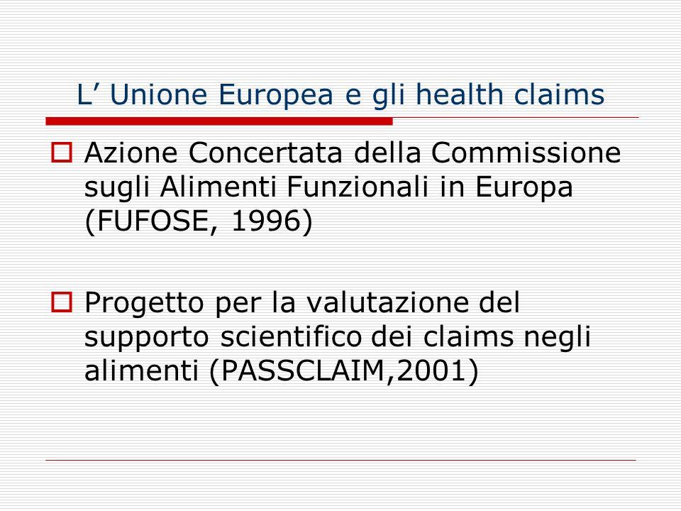 L Unione Europea e gli health claims Azione Concertata della Commissione sugli Alimenti Funzionali in Europa (FUFOSE, 1996) Progetto per la valutazion
