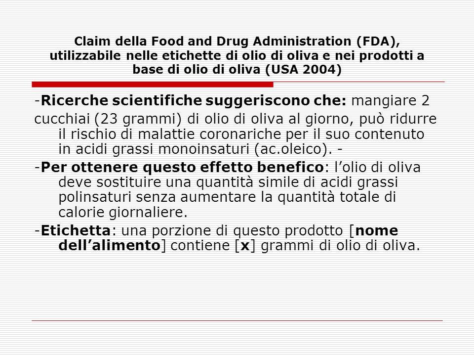 Claim della Food and Drug Administration (FDA), utilizzabile nelle etichette di olio di oliva e nei prodotti a base di olio di oliva (USA 2004) -Ricer