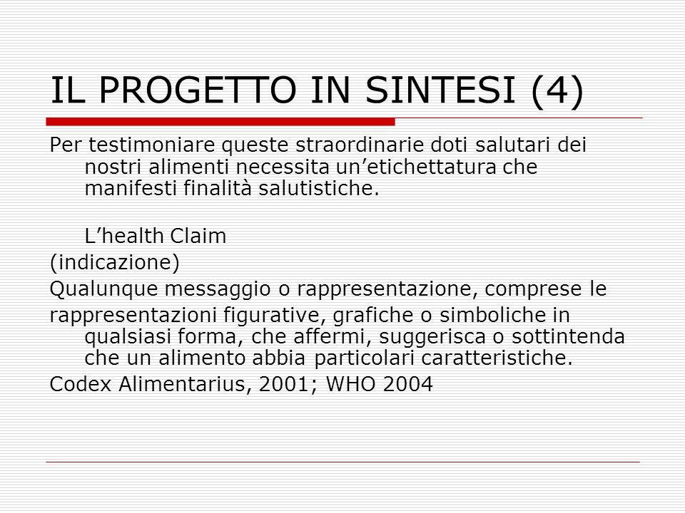 IL PROGETTO IN SINTESI (4) Per poter avvalerci di health claims altamente scientifiche è necessario che la Regione Calabria si doti di laboratori tecnologicamente avanzati e di scienziati che li governino.