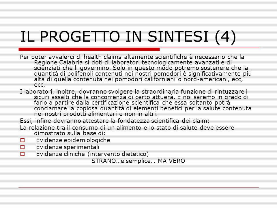 IL PROGETTO IN SINTESI (4) Per poter avvalerci di health claims altamente scientifiche è necessario che la Regione Calabria si doti di laboratori tecn