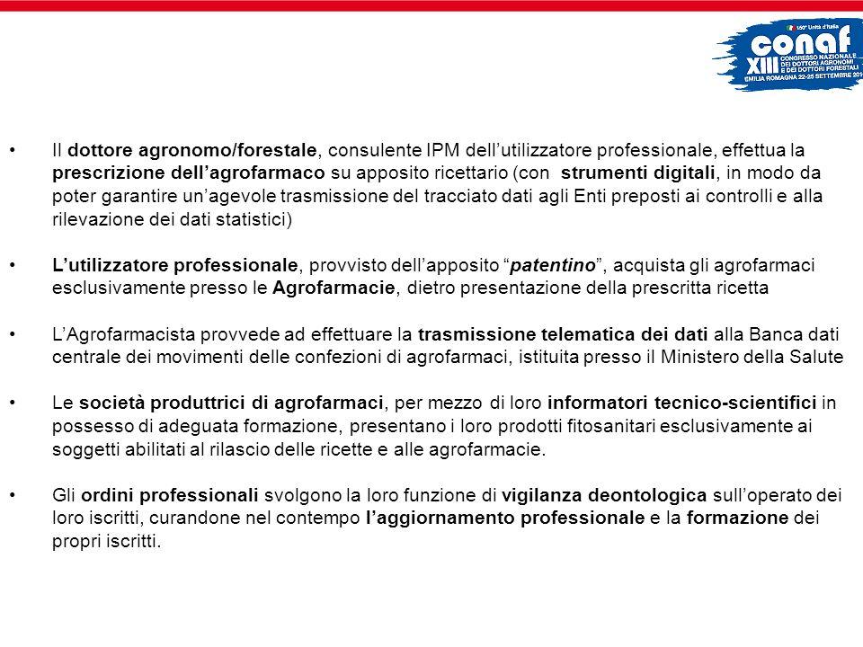 Il dottore agronomo/forestale, consulente IPM dellutilizzatore professionale, effettua la prescrizione dellagrofarmaco su apposito ricettario (con str