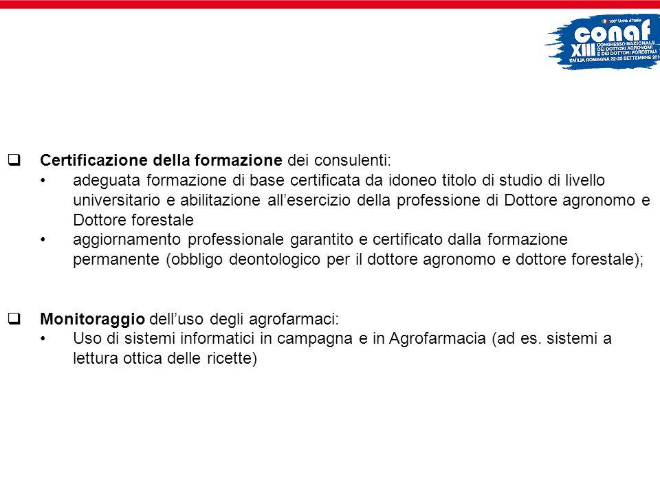Certificazione della formazione dei consulenti: adeguata formazione di base certificata da idoneo titolo di studio di livello universitario e abilitaz
