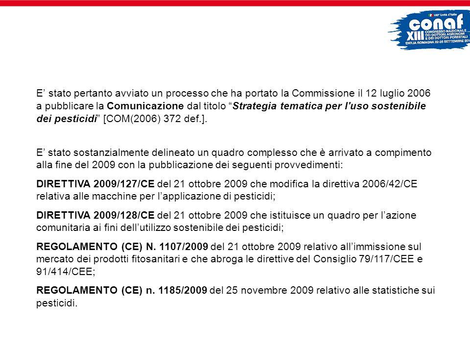 E stato pertanto avviato un processo che ha portato la Commissione il 12 luglio 2006 a pubblicare la Comunicazione dal titolo Strategia tematica per l