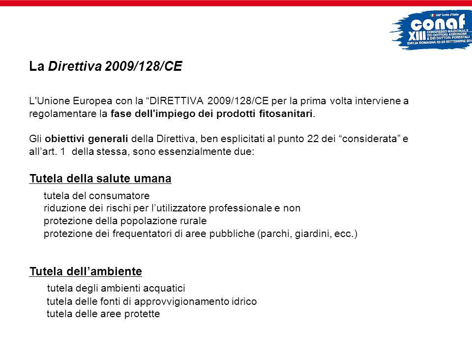 L'Unione Europea con la DIRETTIVA 2009/128/CE per la prima volta interviene a regolamentare la fase dell'impiego dei prodotti fitosanitari. Gli obiett
