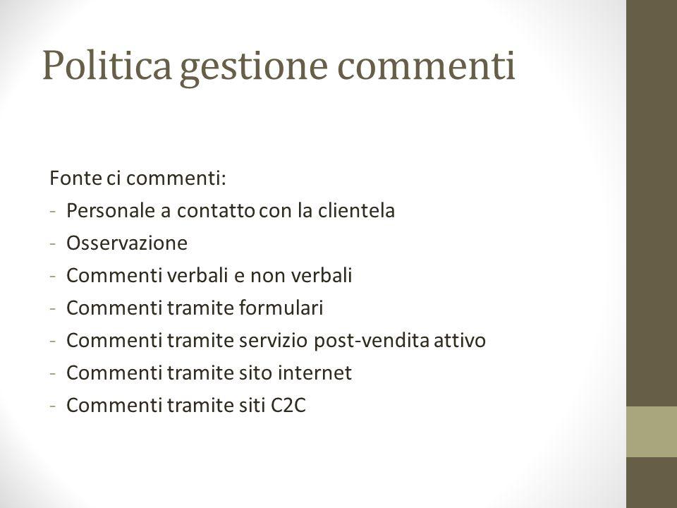 Politica gestione commenti Fonte ci commenti: -Personale a contatto con la clientela -Osservazione -Commenti verbali e non verbali -Commenti tramite f