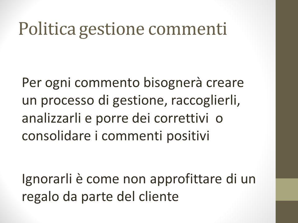 Politica gestione commenti Per ogni commento bisognerà creare un processo di gestione, raccoglierli, analizzarli e porre dei correttivi o consolidare