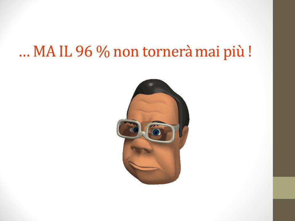 … MA IL 96 % non tornerà mai più !