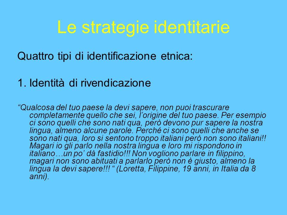Le strategie identitarie Quattro tipi di identificazione etnica: 1.Identità di rivendicazione Qualcosa del tuo paese la devi sapere, non puoi trascurare completamente quello che sei, lorigine del tuo paese.