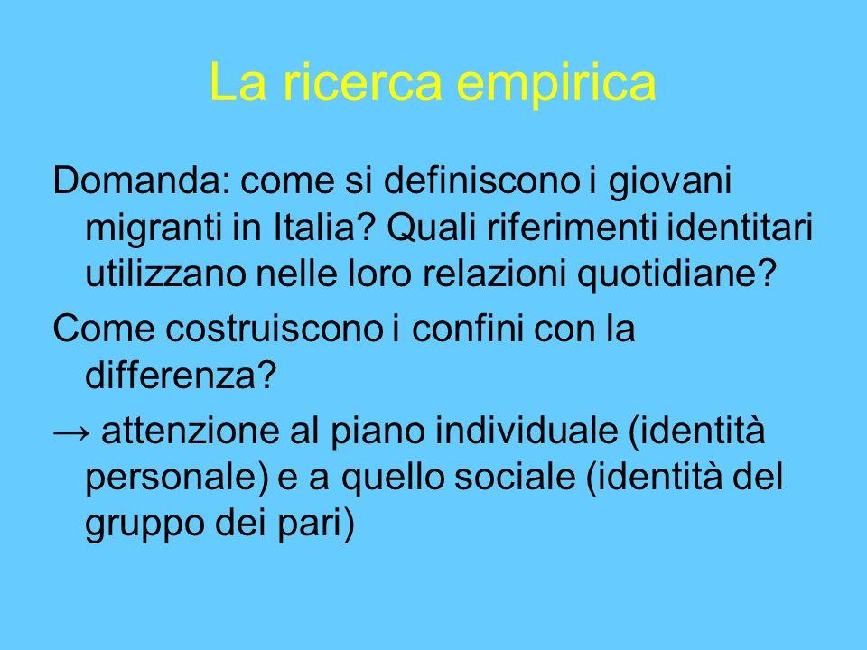 La ricerca empirica Domanda: come si definiscono i giovani migranti in Italia.