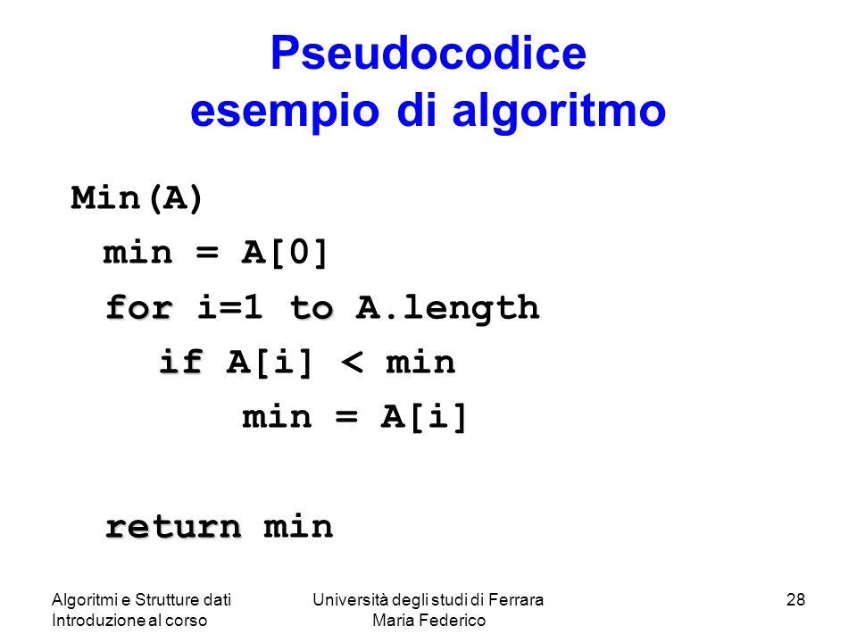 Algoritmi e Strutture dati Introduzione al corso Università degli studi di Ferrara Maria Federico 28 Pseudocodice esempio di algoritmo Min(A) min = A[0] forto for i=1 to A.length if if A[i] < min min = A[i] return return min