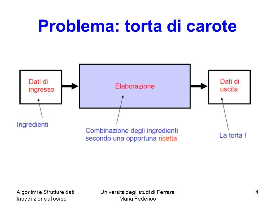 Algoritmi e Strutture dati Introduzione al corso Università degli studi di Ferrara Maria Federico 4 Problema: torta di carote