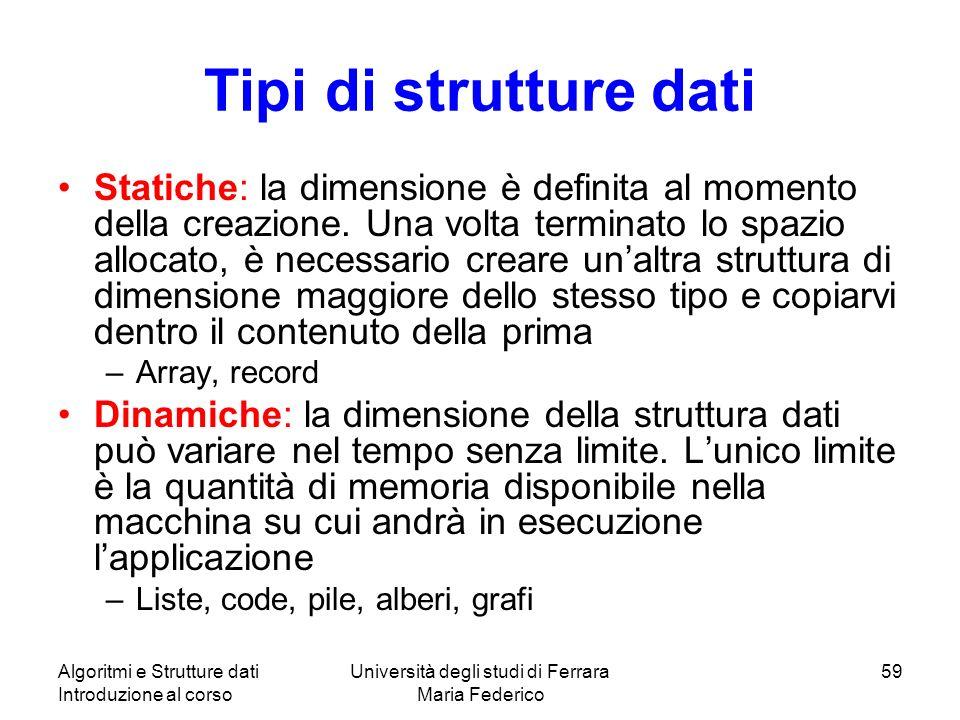 Algoritmi e Strutture dati Introduzione al corso Università degli studi di Ferrara Maria Federico 59 Tipi di strutture dati Statiche: la dimensione è definita al momento della creazione.