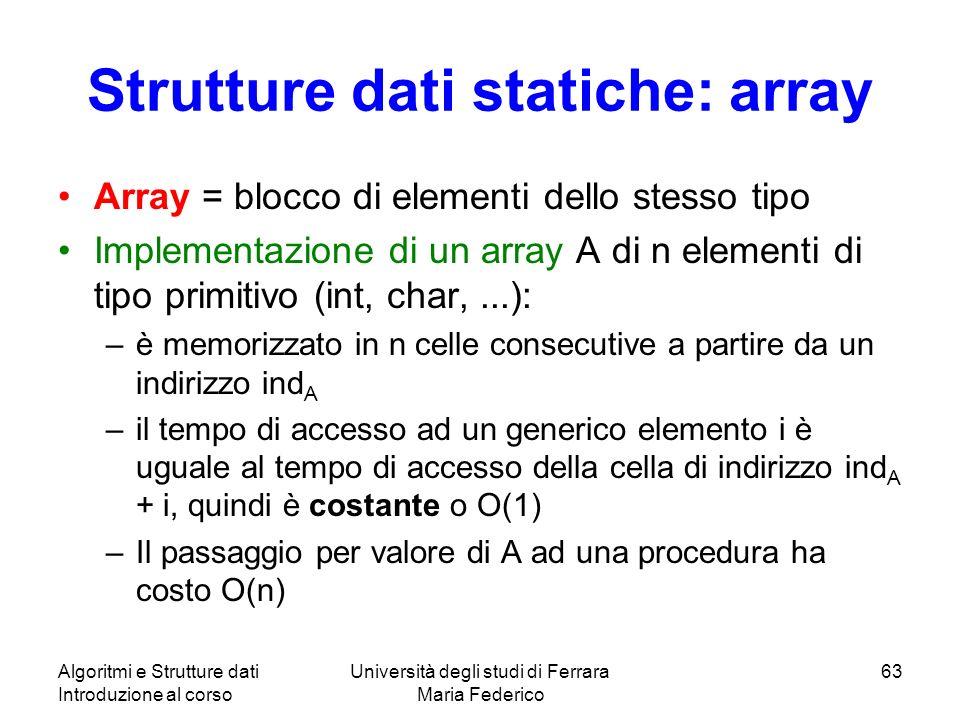 Algoritmi e Strutture dati Introduzione al corso Università degli studi di Ferrara Maria Federico 63 Strutture dati statiche: array Array = blocco di elementi dello stesso tipo Implementazione di un array A di n elementi di tipo primitivo (int, char,...): –è memorizzato in n celle consecutive a partire da un indirizzo ind A –il tempo di accesso ad un generico elemento i è uguale al tempo di accesso della cella di indirizzo ind A + i, quindi è costante o O(1) –Il passaggio per valore di A ad una procedura ha costo O(n)