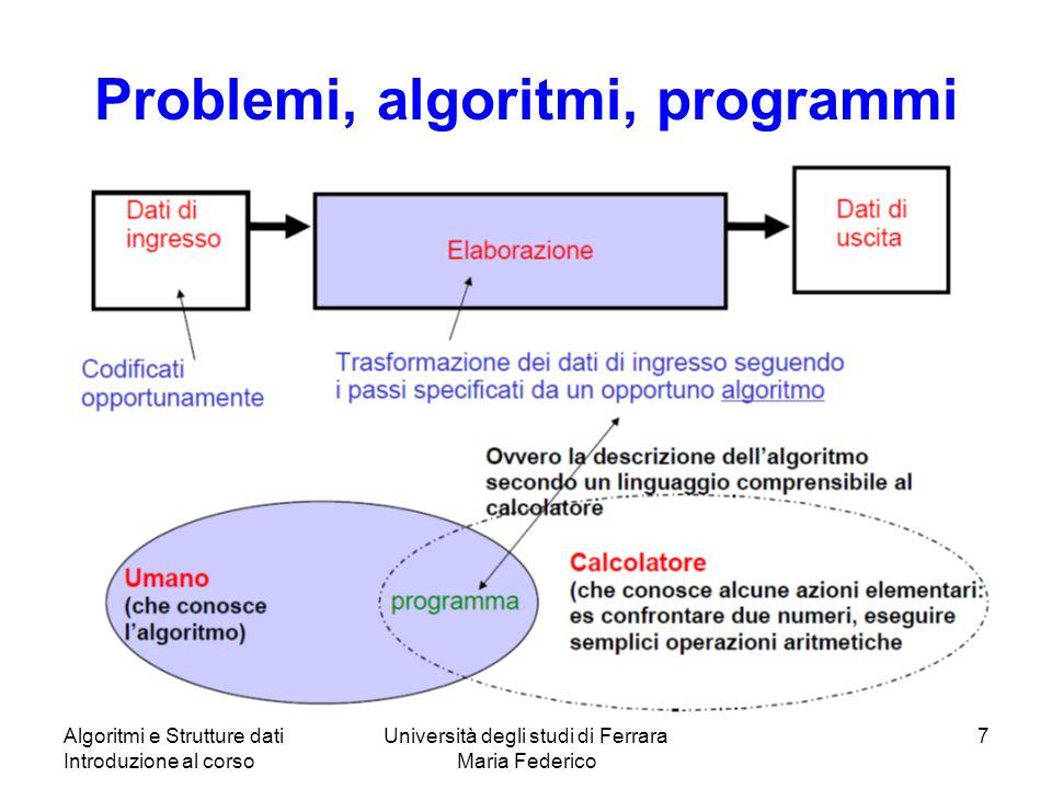 Algoritmi e Strutture dati Introduzione al corso Università degli studi di Ferrara Maria Federico 7 Problemi, algoritmi, programmi