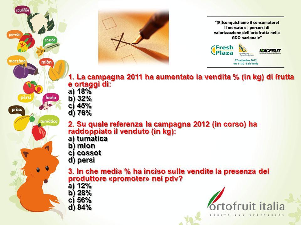 1. La campagna 2011 ha aumentato la vendita % (in kg) di frutta e ortaggi di: a) 18% b) 32% c) 45% d) 76% 2. Su quale referenza la campagna 2012 (in c