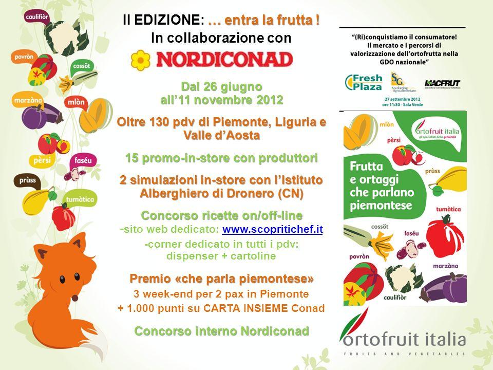 … entra la frutta ! II EDIZIONE: … entra la frutta ! In collaborazione con Dal 26 giugno all11 novembre 2012 Oltre 130 pdv di Piemonte, Liguria e Vall