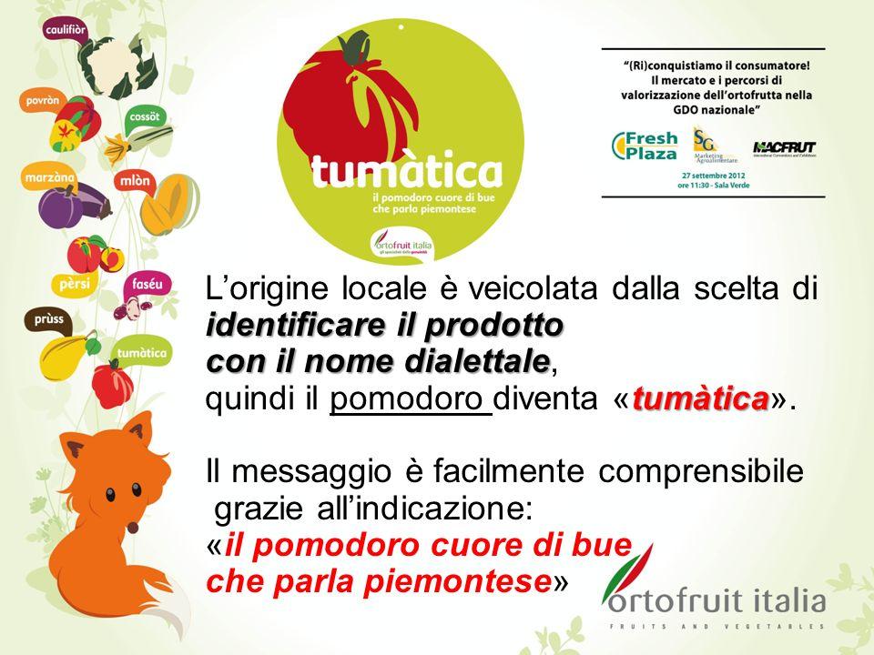 identificare il prodotto Lorigine locale è veicolata dalla scelta di identificare il prodotto con il nome dialettale con il nome dialettale, tumàtica