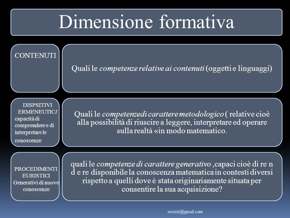 Dimensione formativa Quali le competenze relative ai contenuti (oggetti e linguaggi) Quali le competenzedi carattere metodologico ( relative cioè alla