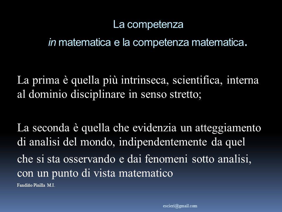 La competenza in matematica e la competenza matematica. La prima è quella più intrinseca, scientifica, interna al dominio disciplinare in senso strett