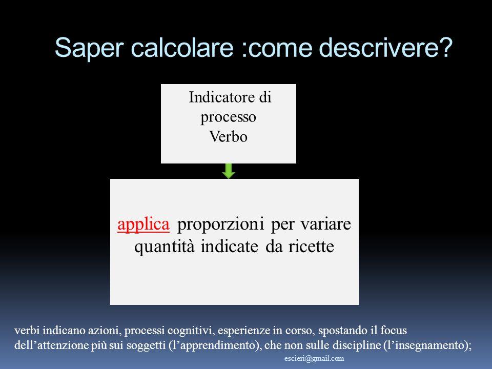 Saper calcolare :come descrivere? Indicatore di processo Verbo applica proporzioni per variare quantità indicate da ricette verbi indicano azioni, pro