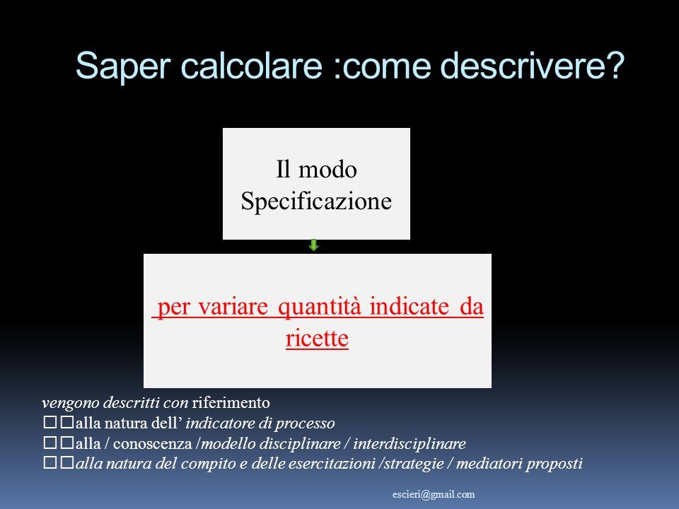 per variare quantità indicate da ricette vengono descritti con riferimento alla natura dell indicatore di processo alla / conoscenza /modello discipli