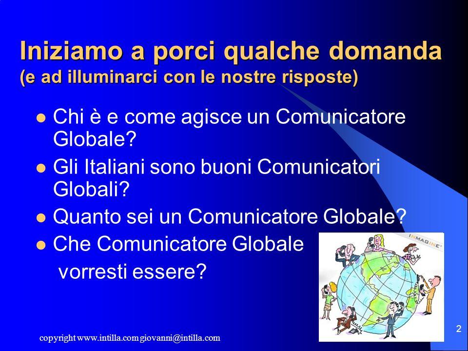 copyright www.intilla.com giovanni@intilla.com 2 Iniziamo a porci qualche domanda (e ad illuminarci con le nostre risposte) Chi è e come agisce un Com