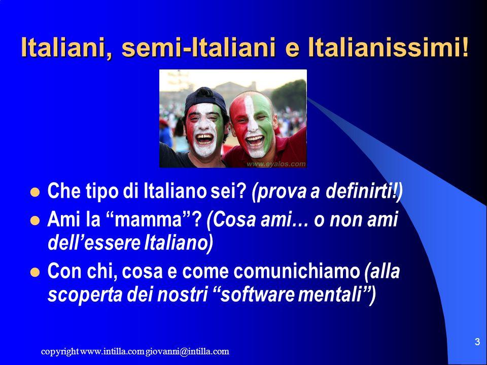 copyright www.intilla.com giovanni@intilla.com 3 Italiani, semi-Italiani e Italianissimi! Che tipo di Italiano sei? (prova a definirti!) Ami la mamma?