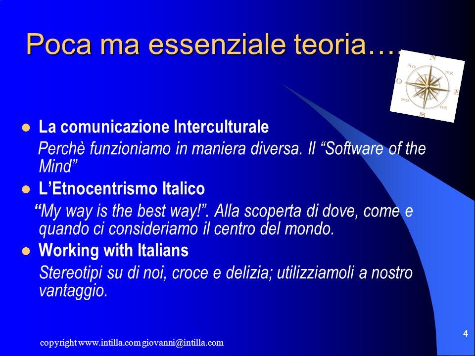 copyright www.intilla.com giovanni@intilla.com 4 Poca ma essenziale teoria…. La comunicazione Interculturale Perchè funzioniamo in maniera diversa. Il