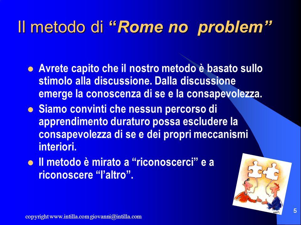 copyright www.intilla.com giovanni@intilla.com 5 Il metodo di Rome no problem Avrete capito che il nostro metodo è basato sullo stimolo alla discussio