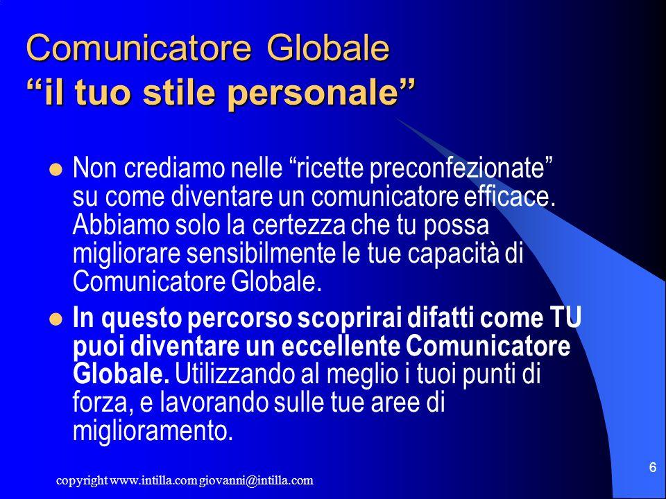 copyright www.intilla.com giovanni@intilla.com 6 Comunicatore Globale il tuo stile personale Non crediamo nelle ricette preconfezionate su come divent