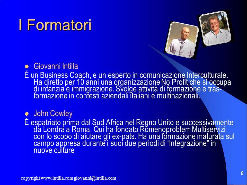 copyright www.intilla.com giovanni@intilla.com 8 I Formatori Giovanni Intilla É un Business Coach, e un esperto in comunicazione Interculturale. Ha di
