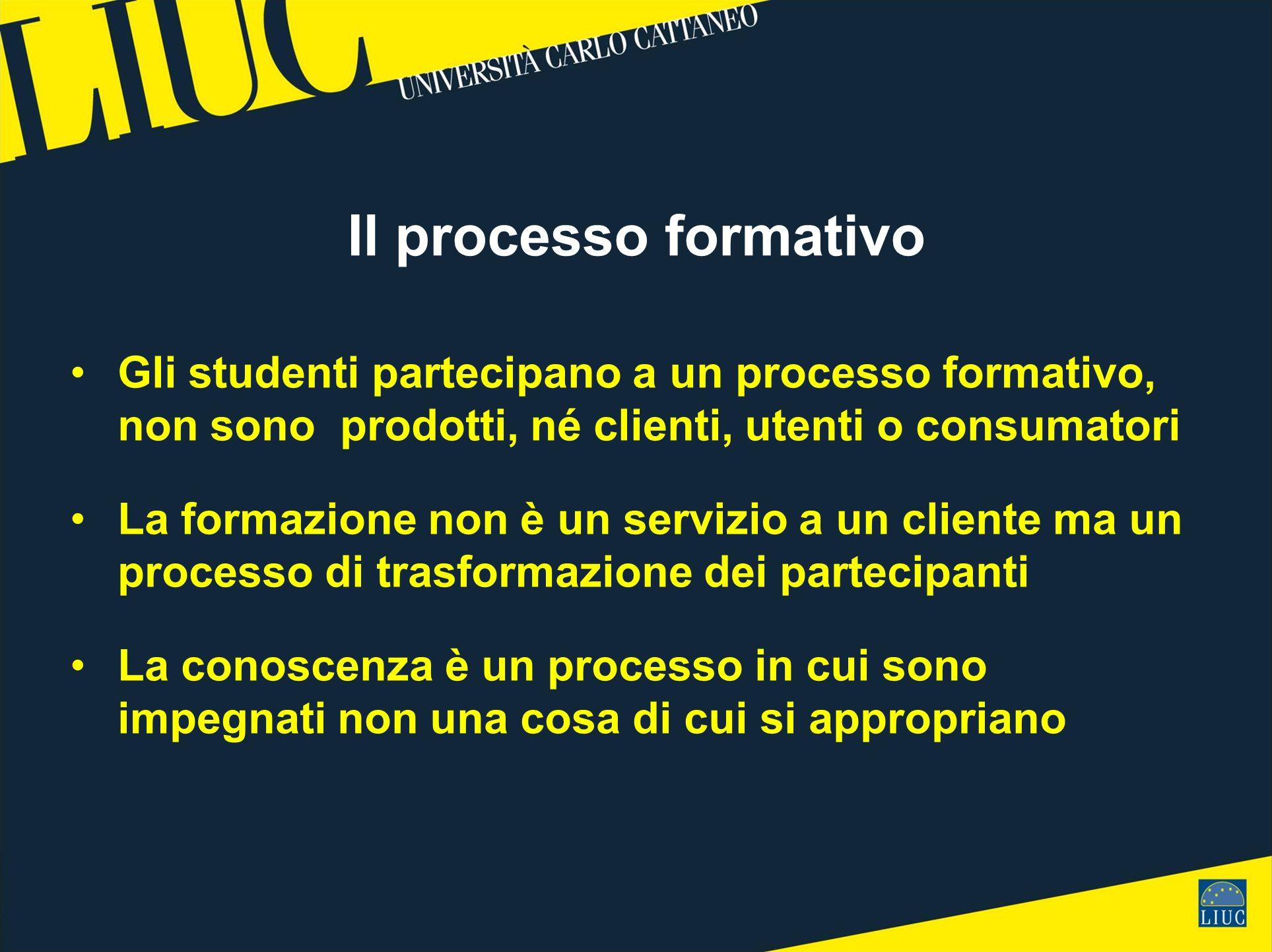 Il processo formativo Gli studenti partecipano a un processo formativo, non sono prodotti, né clienti, utenti o consumatori La formazione non è un servizio a un cliente ma un processo di trasformazione dei partecipanti La conoscenza è un processo in cui sono impegnati non una cosa di cui si appropriano
